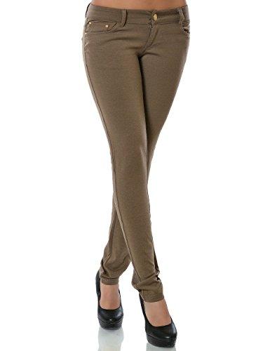 Damen Hose Treggings Skinny Röhre Stretch DA 13011 Farbe Khaki Größe S / 36