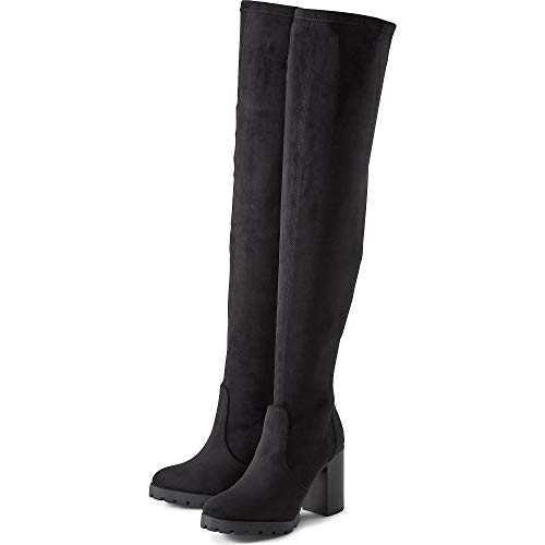 Buffalo Damen Stiefel Madyson, Frauen Overknee Stiefel, leger Overknee-Boots langschaftstiefel sexy feminin Lady Ladies,Schwarz(Black),40 EU / 6.5 UK