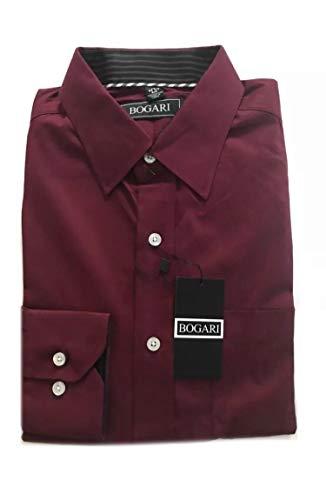 Men's Regular Fit Solid Button Down Dress Shirt Long Sleeve 100% Cotton (Ruby, Small)