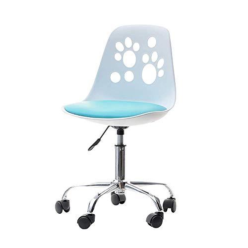 Selsey Foot - Schreibtischstuhl Kinderstuhl höhenverstellbar mit Rollen und Drehfunktion, Weiß/Blau, 40 x 39 x 84 cm