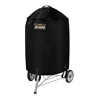 JIESUO Grill Cover for Weber Charcoal Kettle, Premium 22 Inch BBQ Cover, Heavy Duty Waterproof Grill Covers