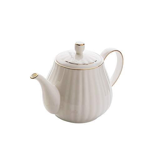 LRHD Al estilo europeo de Oro Porcelana Bone creativo del café Crisol simple Tarde Tetera mano Pot tetera de la porcelana con filtro, 1000ml grande tetera de la porcelana con tapa, la porción de la te