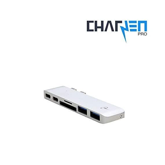 """CharJenPro USB C Hub for MacBook Pro 16"""", 15"""", 13"""", 2020, 2019, 2018, MacBook Air 2020, 2019, 2018, 100W Power, TB 3, 2 USB 3.0, microSD, SD Card Reader, USB C Port. USBC Adapter for MacBook 2020. 7 PREMIUM: Only for MacBook Air 2018 - 2020, MacBook Pro 2016 - 2020. Compact HIGH-GRADE Aluminum body. Only versatile all in one you need. THUNDERBOLT 3 PORT (top USBC port): Charges laptop up to 100W. 5K@60Hz video output for Ultra HD. Transfers data up to 40Gbps. The 2nd USB C port is for DATA ONLY transfer up to 5Gbps. FAST PORTS: 2 USB 3.0 and 1 USB C port for external hard drives, flash/thumb drives, phones, tablets, printers, scanners, all USB devices. Speeds up to 5Gbps."""