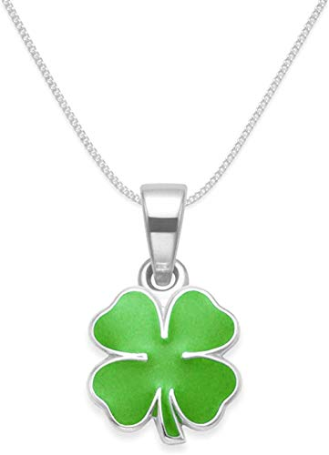 MNMXW Sterling Silver Shamrock Necklace - Kelly Green Enamel St Patrick s Day Neclace - Lucky Four Leaf Clover Neclace on 16 inch (41cm) chain - Size: 20mm (0.8 inch). Gift Boxed. 8370GRN/16