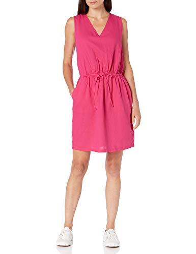 Amazon Essentials Women's Sleeveless Relaxed Fit Linen Dress, Bright Pink, Medium