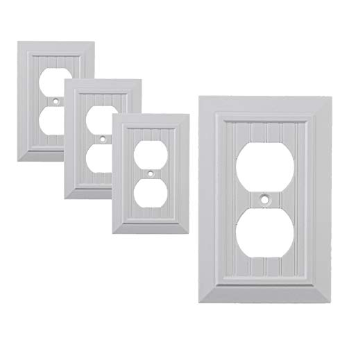 Pack of 4 Wall Plate Outlet Switch Covers by SleekLighting | Classic Beadboard Wall plates| Variety of Styles: Decorator/Duplex/Toggle/Blank / & Combo | Size: 1 Gang Receptacle