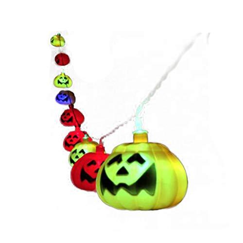 Luces de cadena de calabaza de Halloween, Cubo de calabaza pequeño y portátil para niños bricolaje, Centro comercial Bar Diseño Faroles de papel Accesorios decorativos (longitud tres metros, batería g