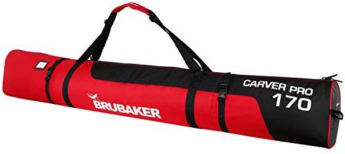 Brubaker CarverPro XP Skisack mit gepolsterten Schulterträgern für 1 Paar Ski und Stöcke - Schwarz Rot - 170 cm