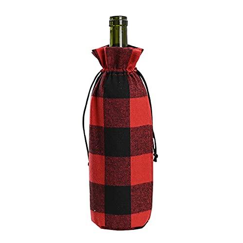 RIABXZ 2 fundas de botella de vino a cuadros de búfalo de Navidad, bolsas de botella de vino con cordón para Navidad, vino rojo, champán, para decoración de fiestas de Navidad