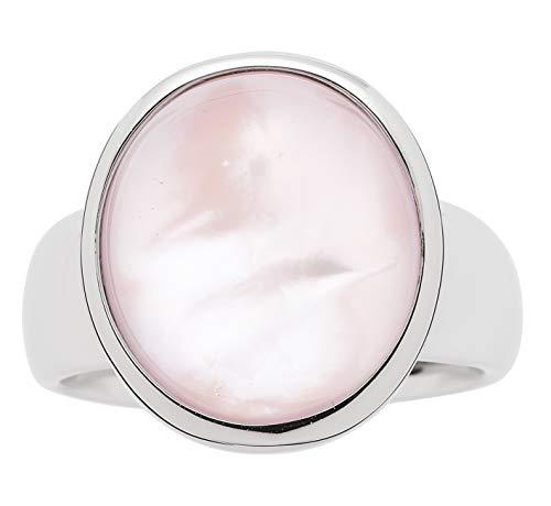 Jewels by Leonardo Damenring mit rosa Glasstein mit Perlmuttschicht I Fingerring aus Edelstahl, Silber poliert