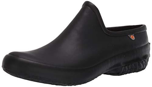 BOGS womens Patch Clog Rain Shoe, Black, 12 US