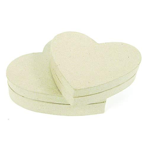 Décopatch BT036O Box in Herzform flach XS (aus Pappmaché, 13 x 11 x 3,5 cm, zum Verzieren, ideal für Ihre Wohndeko) Kartonbraun
