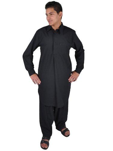 Egypt Bazar Juego de 2 piezas de salwars para hombre, estilo Pakistán, color negro