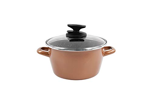 Magefesa Copper Pot 24 cm with Glass Lid, Enamelled Steel, Two Layers of Enamel Exterior Colour Copper and Non-Stick Multilayer Stone Effect Suitable for all hob types, including induction.