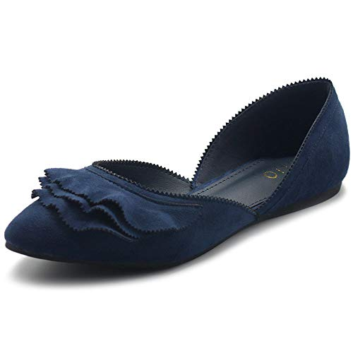 Ollio Women s Shoes Faux Suede Slip On Scallped Collar Pointed Toe Ballet Flats ZY00F70 (9 B(M) US  Navy)