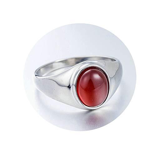 Daesar Herren Ring Edelstahl Oval Rot Opal Stein Partnerring Männer Edelstahlring Silber Größe 57 (18.1)