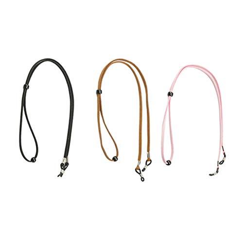 VORCOOL 3 Stück Brillenkette Premium Rutschfester Sonnenbrillenriemen Brillenhalter (Schwarz/Rosa/Hellbraun)