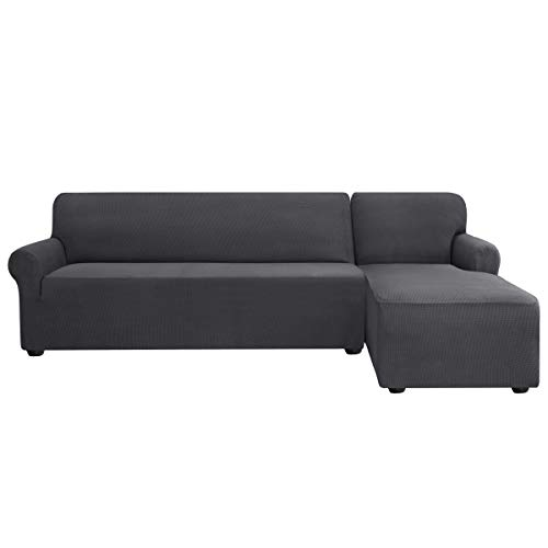 Subrtex Funda Sofa Chaise Longue Brazo Derecho Elastica Largo Protector para Sofa Chaise Longue Derecha Antimanchas Ajustable(Gris)