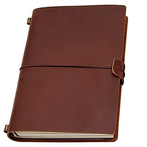 Diario de cuero para escribir, cuaderno de cuero con encuadernación rellenable para hombres/mujeres, con línea/en blanco/cuadrícula gruesa de papel, diario personalizado A5,...