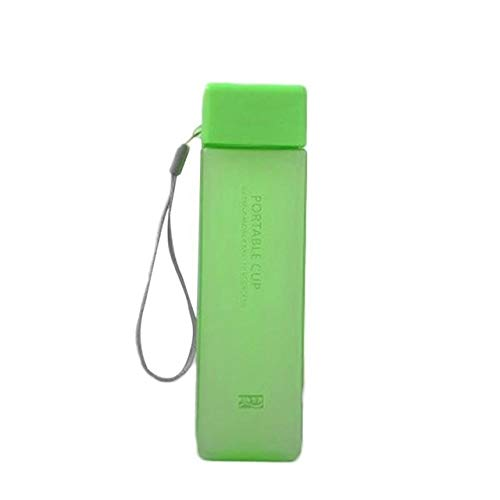 1 unid 500 ml transparente cuadrado plástico mate taza de agua al aire libre jugo frío agua deportes taza con leche portátil cuerda agua taza - D