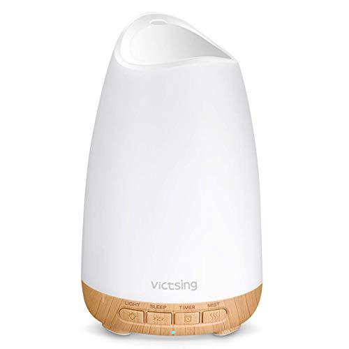VicTsing 150ml Difusor de Aromas, Ultra silencioso (21dB) Humidificador Aceites Esenciales, Difusor de Aceites Esenciales sin BPA, Difusor Aceites Esenciales Ultrasonico con LED de 8 Colores- Amarillo