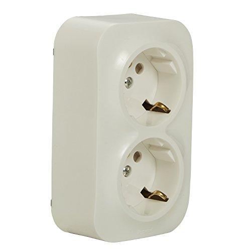 Legrand 782413forix Cuadro De Enchufe (2capas), 2pines con protección de contacto para montaje en la pared, Estándar de Color Blanco