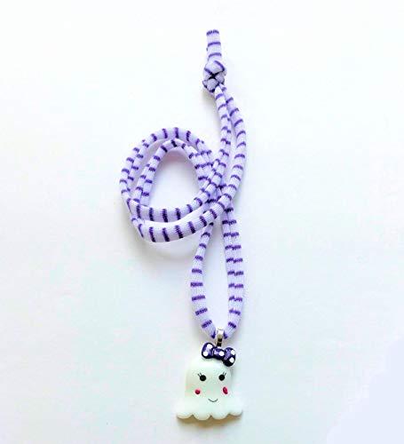 Cartissimi Süße Weiß Lila Gracy Ghost Halloween-Gespenster Kinder-Kette | Geister-Halskette mit Violette-Weiß gestreiften Jersey-Band – tolles Halloween-Gastgeschenk