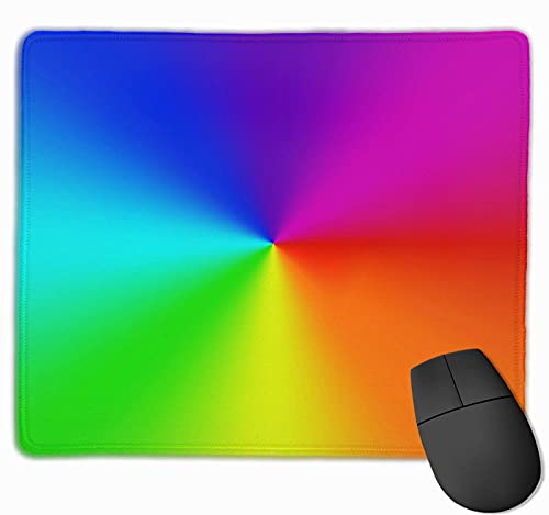 3D Printer Radial Gradient Rainbow Background Mouse Pad with Stitched Edges,Premium-Textured Heavy Gaming Mouse pad,Non-Slip Rubber Base Large Mouse pad for Women Learning