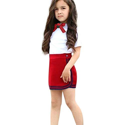 Livoral Kleinkind Mädchen Kind Baby Set Kleidung Fliege Blumen Top T-Shirt Kurz Minirock(Rot,110)