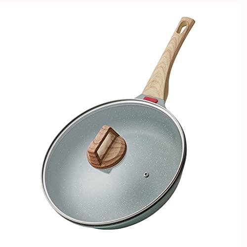 Induktions-Antihaft-Pfanne mit Deckel Aluminium Tiefe Maifan Steinbeschichtung Pfanne Pfanne KüChe Kochgeschirr mit WäRmeanzeige,28cm