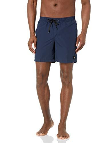 Quiksilver Men's Standard Solid Elastic Waist Volley Boardshort Swim Trunk Bathing Suit, Navy Blazer, XL