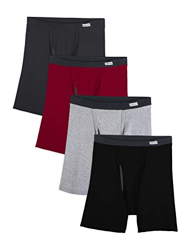 Fruit of the Loom Men's No Ride Up Boxer Brief, Covered Waistband - 4 Pack, XX-Large
