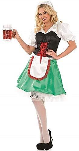 Fancy Me Damen 4 Stück Sexy grün Oktoberfest Bayrisch Deutsch Schwedisch Bier Mädchen Kostüm Kleid Outfit UK 8-22 Übergröße - Grün, 20-22
