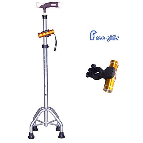 WENTAO Bastón para Caminar 4 pies Bastón Antideslizante Discapacidad Asistencia Médica para Personas Mayores/Aluminio 10 Altura 70,5-93cm Ajuste Usuario Máximo185kg / Peso Neto: 0.6kg,Silver