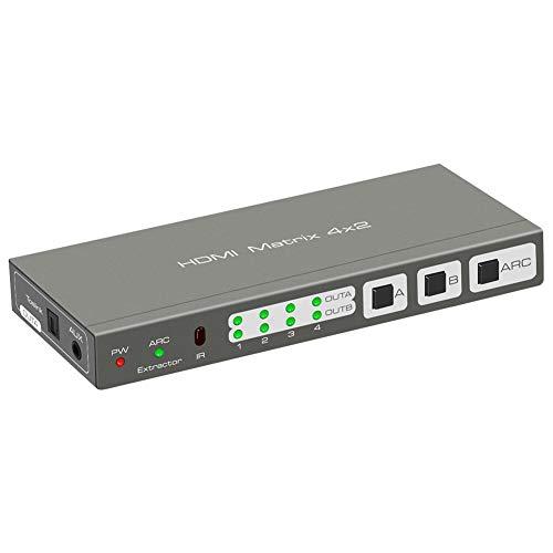 HDMI-Matrix-Umschalter , HDMI-Matrix 4 in 2 Out HDMI4X2-Matrix-Umschalter 4 in 2 Out 4K2K Audio Separation unterstützt ARC/EDID-Steuerung