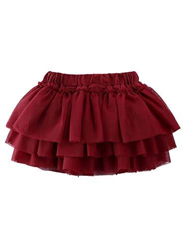 Greetuny - Falda de tul de color liso multicapa para niña Vino Rosso 2- 3 años