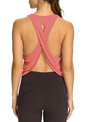 Mippo Workout Crop Tops for Women Sexy Backless T-Shirts Active Wear Women's Gym Exercise Clothes Flowy Cross Back Backless Workout Tops Rose XL