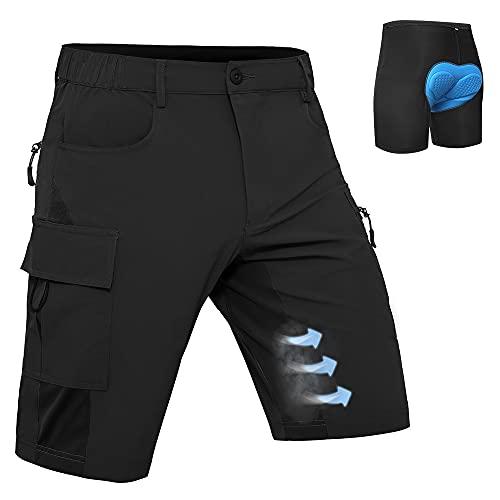 Hiauspor Herren Mountainbike Hose Baggy MTB Shorts 3D gepolsterte Radhosen Loose Fit Schnelltrocknende Fahrradhose(Schwarz, m)