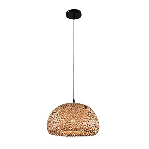Modeen Bambú Redondo E27 Montaje Empotrado Luz de Techo Lámpara de ratán Nido de pájaro Redondo Casa Sombrero de Paja Lámpara Tejida de bambú Lámpara Japonesa rústica para salón de té Comedor Bar