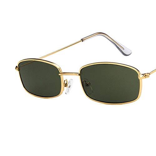 CNBKMG Rechteck Retro Sonnenbrillen Frauen Marke Luxusbrillen Für Frauen/Männer Vintage Sonnenbrillen Frauen-GoldDarkGreen