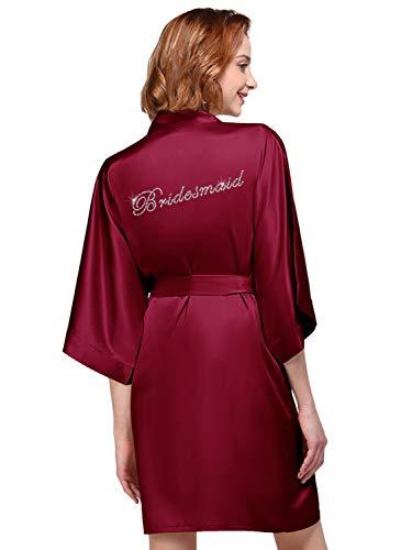 AW BRIDAL Satin Bridesmaid Robe for Wedding Party Getting Ready Women's Short Kimono with Silver Rhinestone Burgundy S