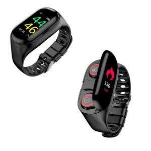 2in1 Smart watch With bluetooth earphone Heart Rate Fitness Tracker Blood Pressure Monitor Men Women girls Smart Watch with earbuds compatible with most smartphone