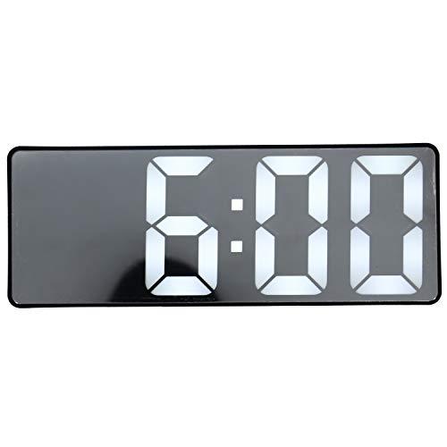 Autumne Despertador Creativo de Espejo Reloj LED Multifuncional Reloj Despertador Espejo de Maquillaje Enchufe de la BateríA Reloj Despertador de Doble Uso