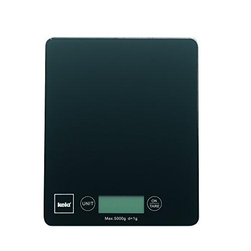 Kela 15741 Digitale Küchenwaage, Glas, 1 g-Feineinteilung, Tara-Funktion, Bis 5 kg Gewicht, Pinta, schwarz