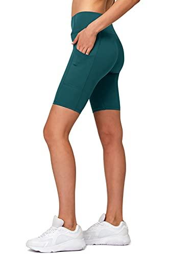 H HIAMIGOS Pantalones cortos para mujer, de cintura alta, no transparentes, para yoga, con bolsillos, para gimnasio, entrenamiento, correr, ciclismo, pilates, uso diario, Gasolina., M