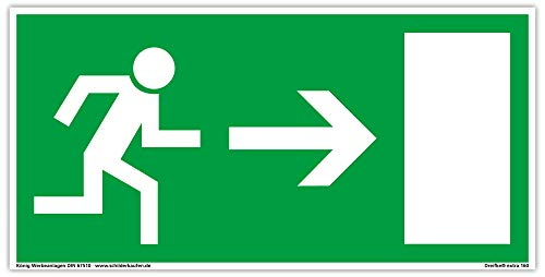 Schild Notausgang | extra langnachleuchtend | PVC selbstklebend 297x148mm | gemäß BGV 8A | DIN 67510 | Notausgangsschild Pfeil rechts | Fluchtwegschild Rettungsweg | Dreifke® extra 160