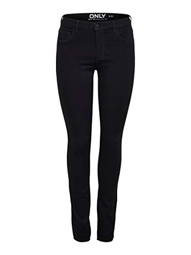 ONLY Damen Onlrain Reg Skinny Jeans Cry6060 Noos, Black Denim,M L30