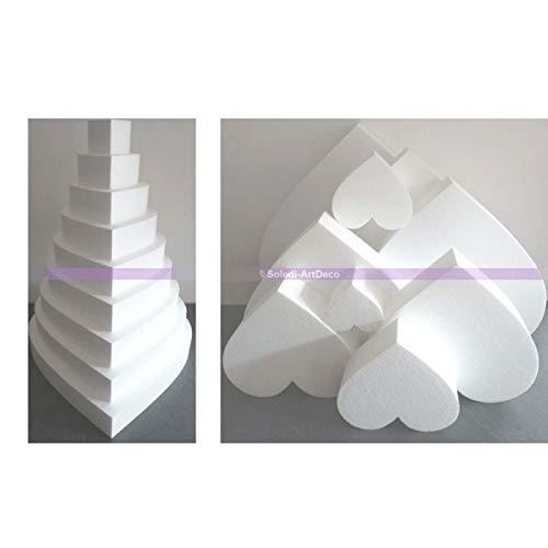 Lealoo Pièce montée Coeur en polystyrène, Haut. 63 cm, Base 50 cm, 9 étages, Haute densité, 28 kg/ m3