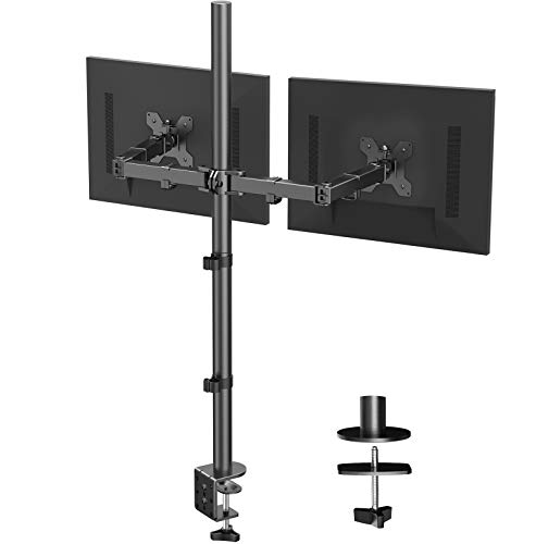 HUANUO Dual Monitor Stand with Extra Tall Pole 39.37 inch, Fully Adjustable Monitor Mount, C Clamp &...