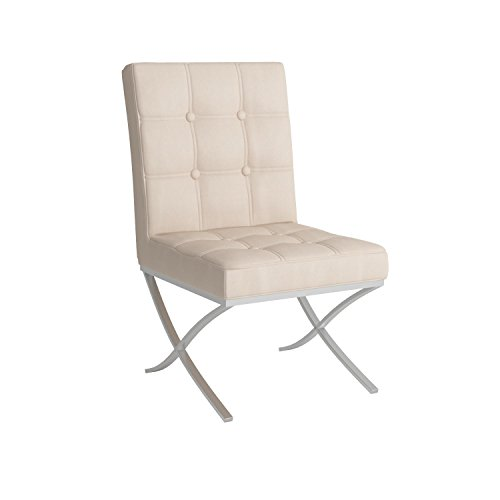 Best Selling Milania Leather Dining Chair, White, Set of 2